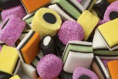 Heap of Liquorice allsorts. Heap of colorful Liquorice allsorts  full frame Royalty Free Stock Photos