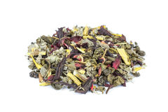 Heap of loose biological Wonder World tea on white Stock Photography