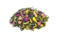 Heap of loose Emperor's 7 treasures tea on white Royalty Free Stock Photos
