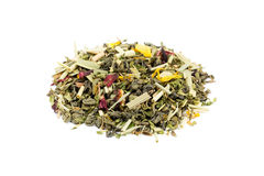 Heap of loose green tea rise and grind. Isolated on white background Stock Images
