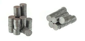 Heap of magnets on white Stock Photo