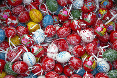 Heap of many colorful hand painted homemade easter eggs on retai Stock Photography