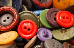 Heap of many different buttons. Heap of many different clothing buttons closeup Stock Image