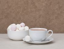 Heap Of Marshmallows In White Bowl. Hot Chocolate Drink.  Royalty Free Stock Images