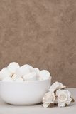 Heap Of Marshmallows In White Bowl. Paper Roses.  Royalty Free Stock Photos