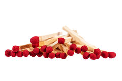 Heap of matches with rad heads isolated on white background Stock Images