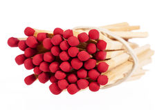 Heap of matches with rad heads isolated on white background Stock Image
