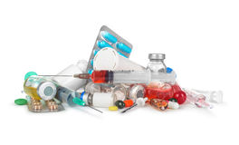 Heap of medical syringes, bottles, pills, Royalty Free Stock Photography