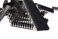 A heap of microprocessors. On a isolated background Stock Image