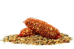 Heap of mixed bird feed and peanuts Stock Image