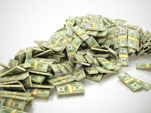 Heap of money. 3d render of big heap of money on white background stock illustration