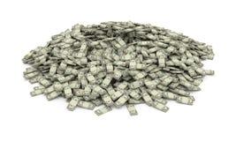 Heap of money. Isolated heap of money stacks Royalty Free Stock Photo