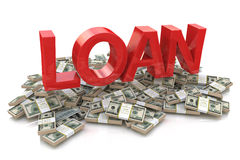 Heap of money and the 3d word of the loan Royalty Free Stock Photography