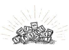 Heap of money hand drawing royalty free illustration
