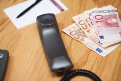 Heap of the money on office table Stock Image