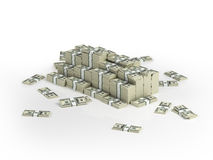 Heap of money packs. Money paks stored in stacks and in heap Vector Illustration