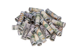 Heap of money. On a white background royalty free stock photo