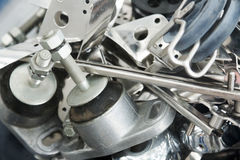 Heap of mounting hardware on stand close up Stock Photo