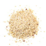 Heap of muesli with apple and cherry, isolated on white. Delici. Ous granola cereal mix, with dried fruit and seeds stock photos