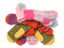 Heap of multicoloured wool mittens Royalty Free Stock Photography