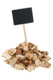 Heap of mushroom  with a pointer for your text Royalty Free Stock Photo