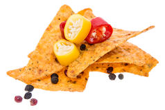 Heap of Nachos on white Stock Photos