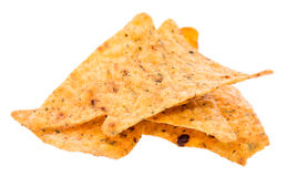 Heap of Nachos on white stock image