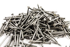 Heap of nails isolated on white background Royalty Free Stock Photography