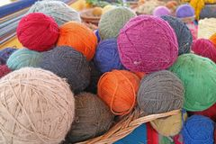 Heap of Natural Dyed Colorful Traditional Peruvian Alpaca Wool Yarn Balls at Chinchero, Andes Textile Village Cuzco Region of Peru. South America stock photography