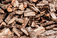 Stacked wood for domestic use royalty free stock photography