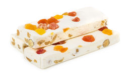 Heap of nougat with nuts and dried fruits Stock Photo