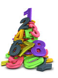 Heap of numbers. Heap of color numbers isolated on white stock illustration