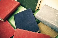 Heap of old books, close-up Stock Photos