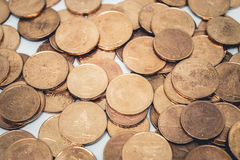 Heap of old bronze coins. Coins, heap of old bronze coins Stock Images