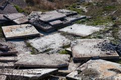 Heap of the old concrete blocks Stock Photography