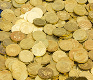 Heap of old dirty collection of coins for sale Royalty Free Stock Photography