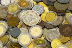 Heap of old dirty collection of coins for sale Stock Photo