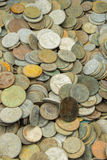 Heap of old dirty collection of coins for sale Royalty Free Stock Images