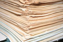 Heap of old documents of role.  stock photos