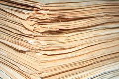 Heap of old documents of role.  stock photography