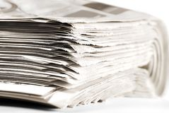 Heap of Old Folded Newspapers, Selective Focus stock image