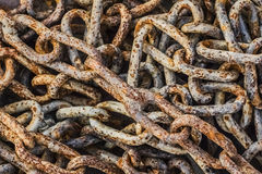 Heap Of Old Rusty Chain Links Stock Image