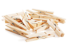 Heap of old style wooden clothes-pegs Royalty Free Stock Photo