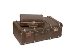 Heap of old suitcases. Isolated on white Stock Images