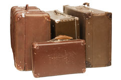 Heap of old suitcases stock photos