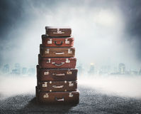 Heap of old suitcases Royalty Free Stock Photo