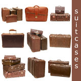 Heap of old suitcases - collage. Heap of old suitcases isolated on white. collage Royalty Free Stock Photos