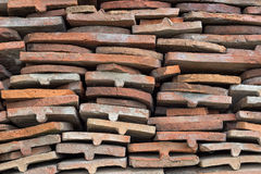 Heap of old terracotta tile roof Royalty Free Stock Photos