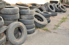 Heap of old tire Stock Photos