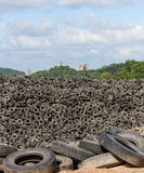 Heap of old Tires. In recycling plant in Thailand stock photos
